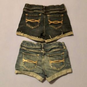 2 pair of Abercrombie kids stretch jean shorts